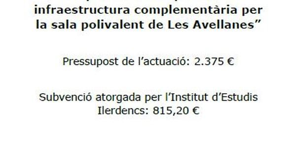 Adquisició de carpes com a infraestructura complementària per la sala polivalent de Les Avellanes