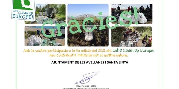 Campanya LET'S CLEAN UP EUROPE al Municipi de Les Avellanes i Santa Linya