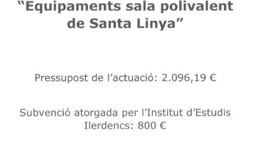 Execució d'actuació: Equipaments sala polivalent de Santa Linya