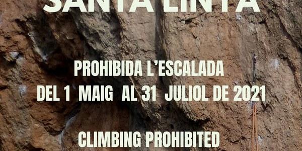 Prohibició temporal d'escalada a la Cova Gran de Santa Linya